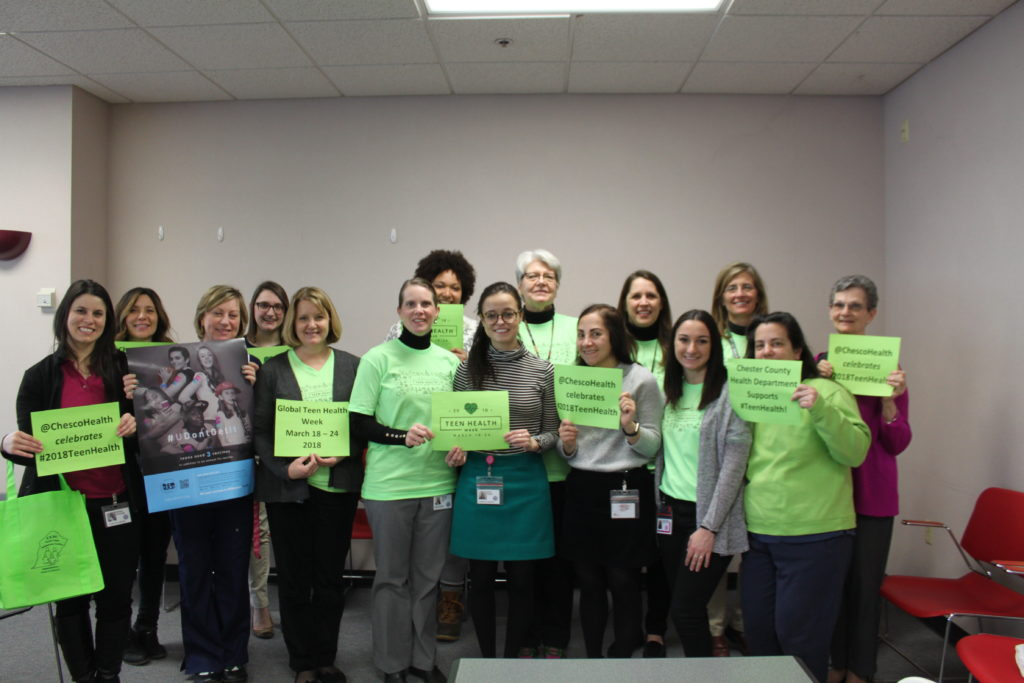 I wanted to send a shout out to Phoenixville High School and West Chester East for embracing Teen Health Week with activities specific to teen health topics, provided by our Personal Health Service staff.  See image for photo of Dr. Cassidy and some of our Health Department staff embracing lime green to celebrate Teen Health Week.  Hopefully we can build on this to provide more activities into our high schools for 2019 Teen Health Week.  Thanks again to everyone on the committee who worked on this project.
